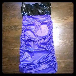 Dresses & Skirts - Strapless Dress Black and Purple